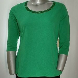 NWT Coldwater Creek Cotton Shirt w/Sequin Neck, 16